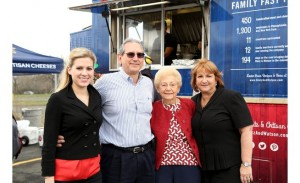 A family affair: Momma Dietz (second from right) joins granddaughter Lauren Eni, son Chris Eni and daughter Cindy Yingling as their company celebrates its 75th anniversary. Photo Credit: Northeast Times