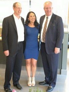 PIDC's Sam Rhoads (left) and Jphn Grady with Liza Bello at Mercer Café  Grand Opening at The Navy Yard.