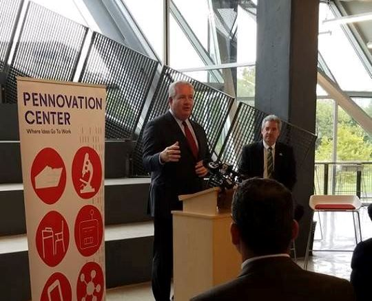 John Grady speaking at Pennovation Center press conference.
